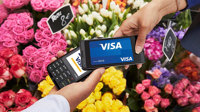 Paying for flowers with contactless card